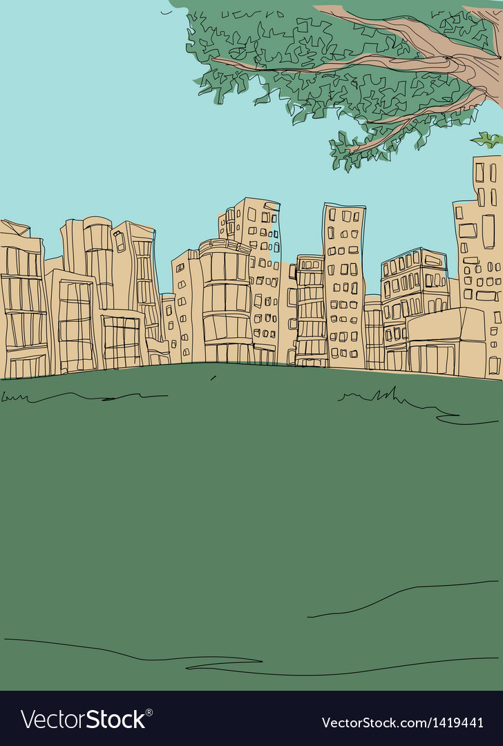 Park townscape sketch vector | Price: 1 Credit (USD $1)