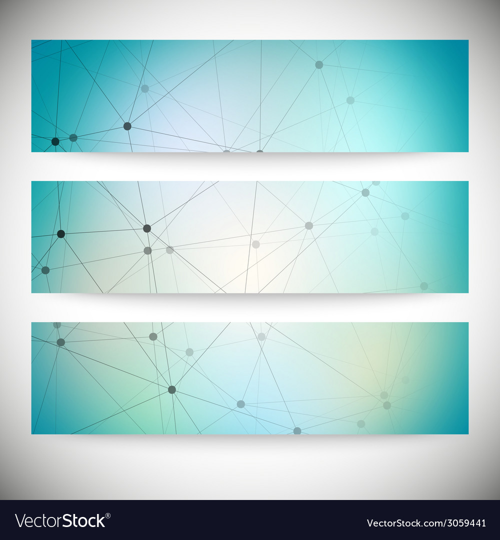 Set of horizontal banners abstract blue background vector | Price: 1 Credit (USD $1)