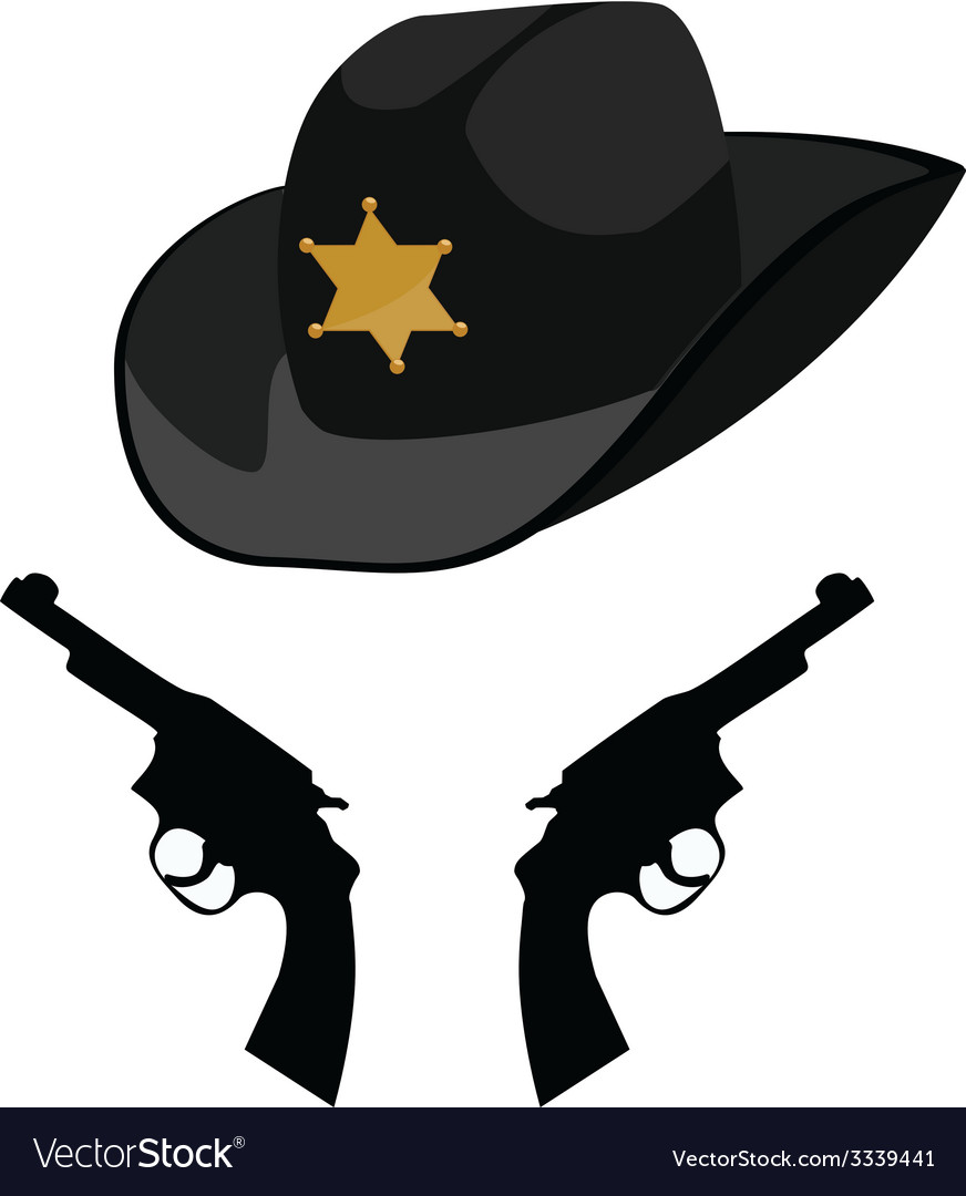 Sheriff hat and revolver vector | Price: 1 Credit (USD $1)