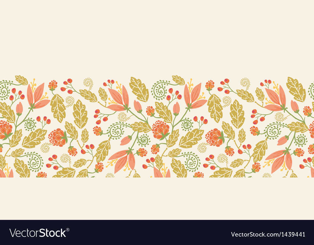Spring flowers and berries horizontal seamless vector   Price: 1 Credit (USD $1)