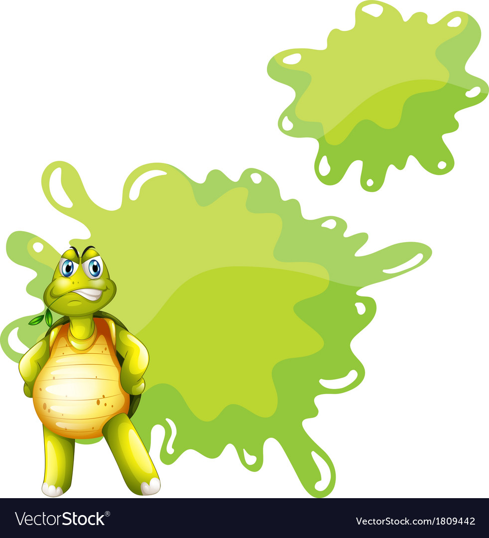 An angry turtle with an empty template at the back vector | Price: 1 Credit (USD $1)