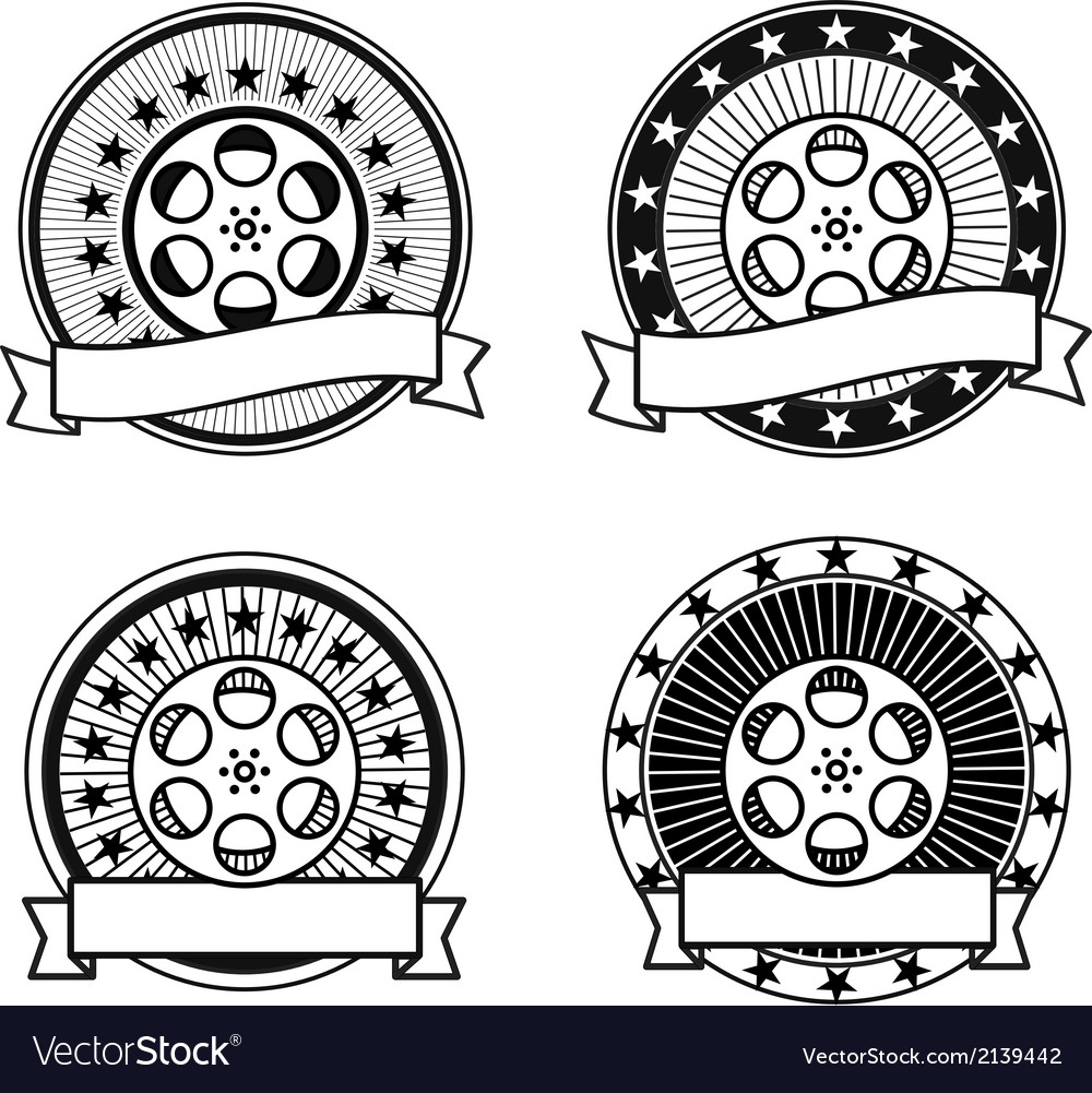 Cinema reel black and white retro stamps vector | Price: 1 Credit (USD $1)