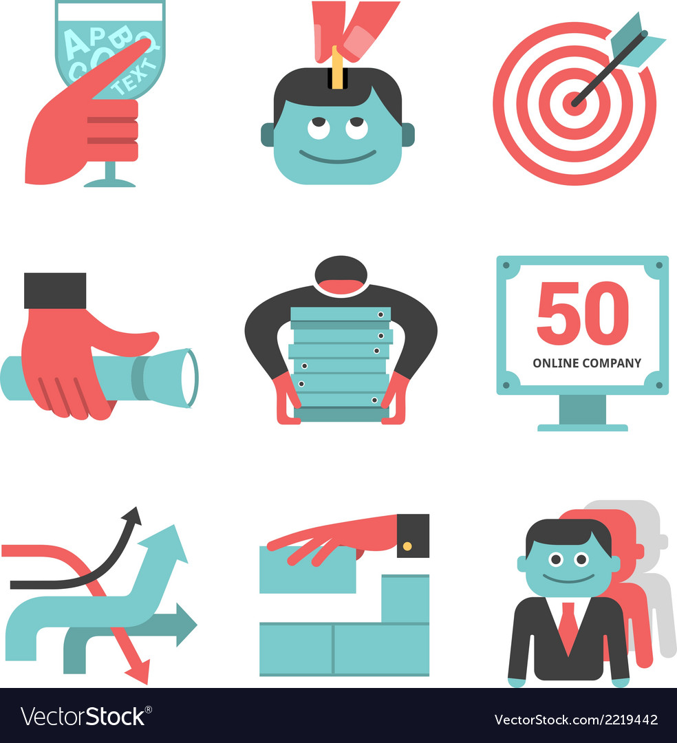 Content management flat icons set part 1 vector | Price: 1 Credit (USD $1)