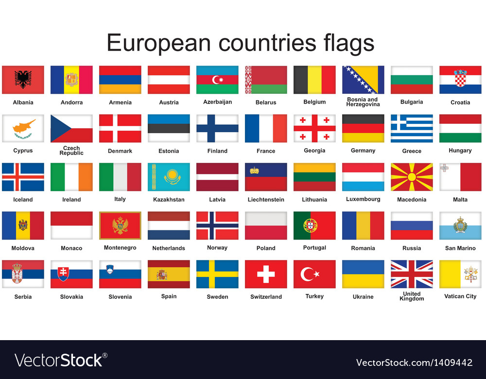 European countries flags vector | Price: 1 Credit (USD $1)