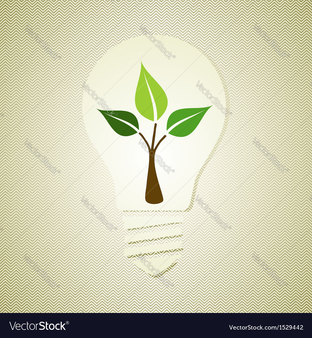Green light bulb with leaves vector | Price: 1 Credit (USD $1)