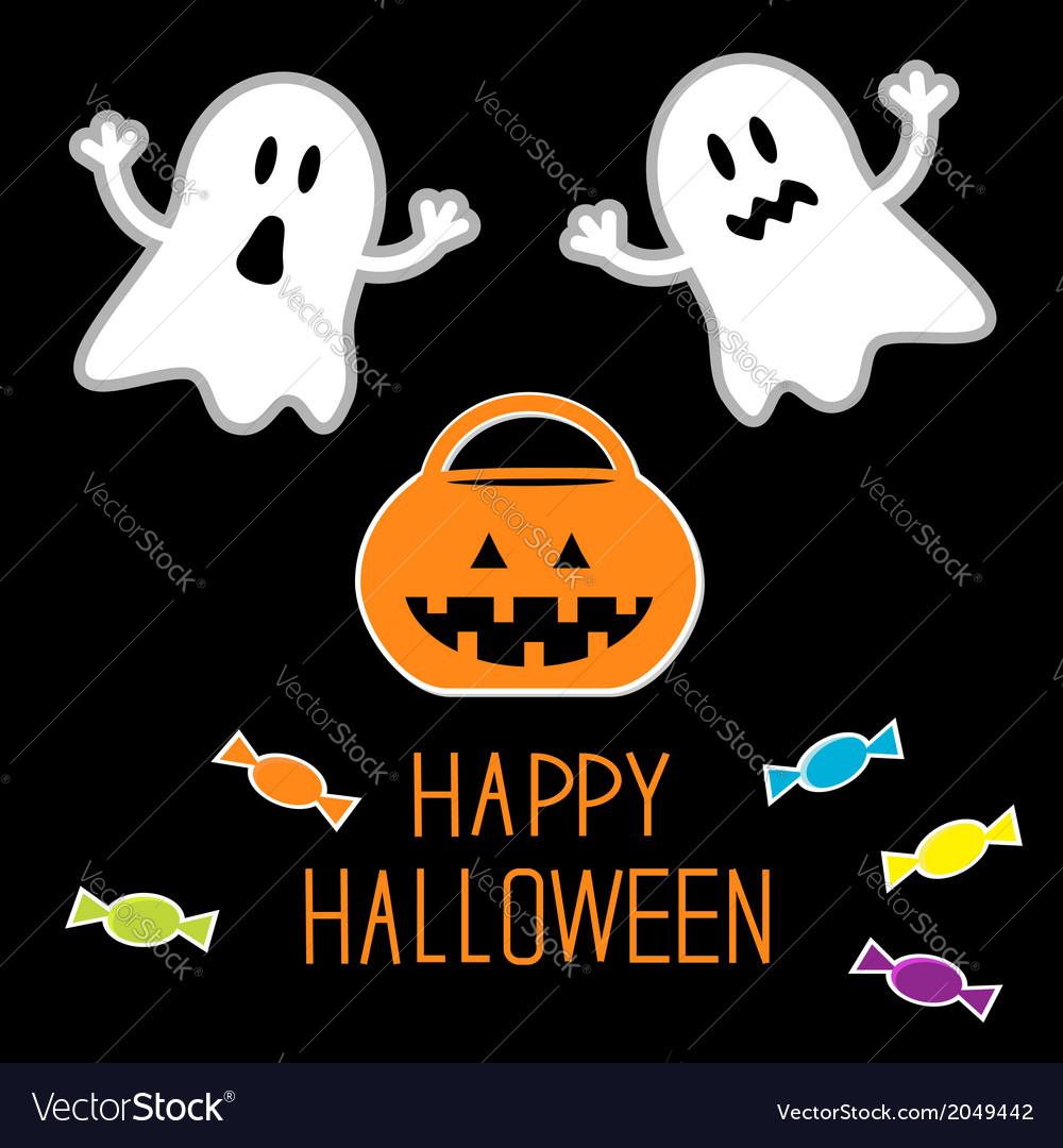 Happy halloween set ghosts pumpkin candies card vector | Price: 1 Credit (USD $1)