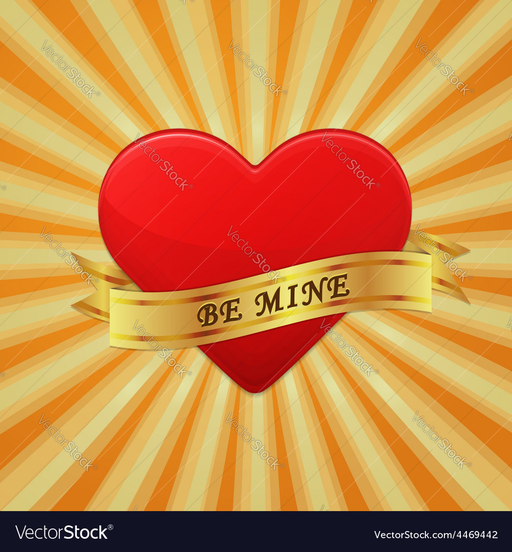 Heart with ribbon and phrase be mine vector | Price: 1 Credit (USD $1)