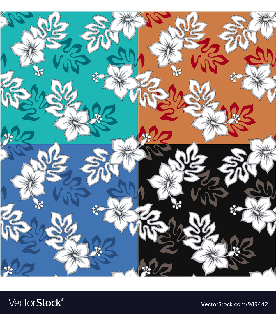 Hibiscus seamless pattern vector | Price: 1 Credit (USD $1)