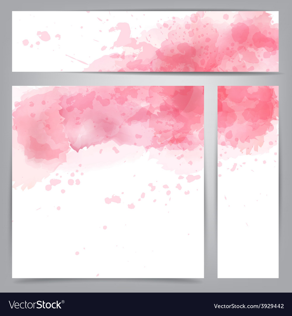 Pink watercolor abstract banners vector | Price: 1 Credit (USD $1)