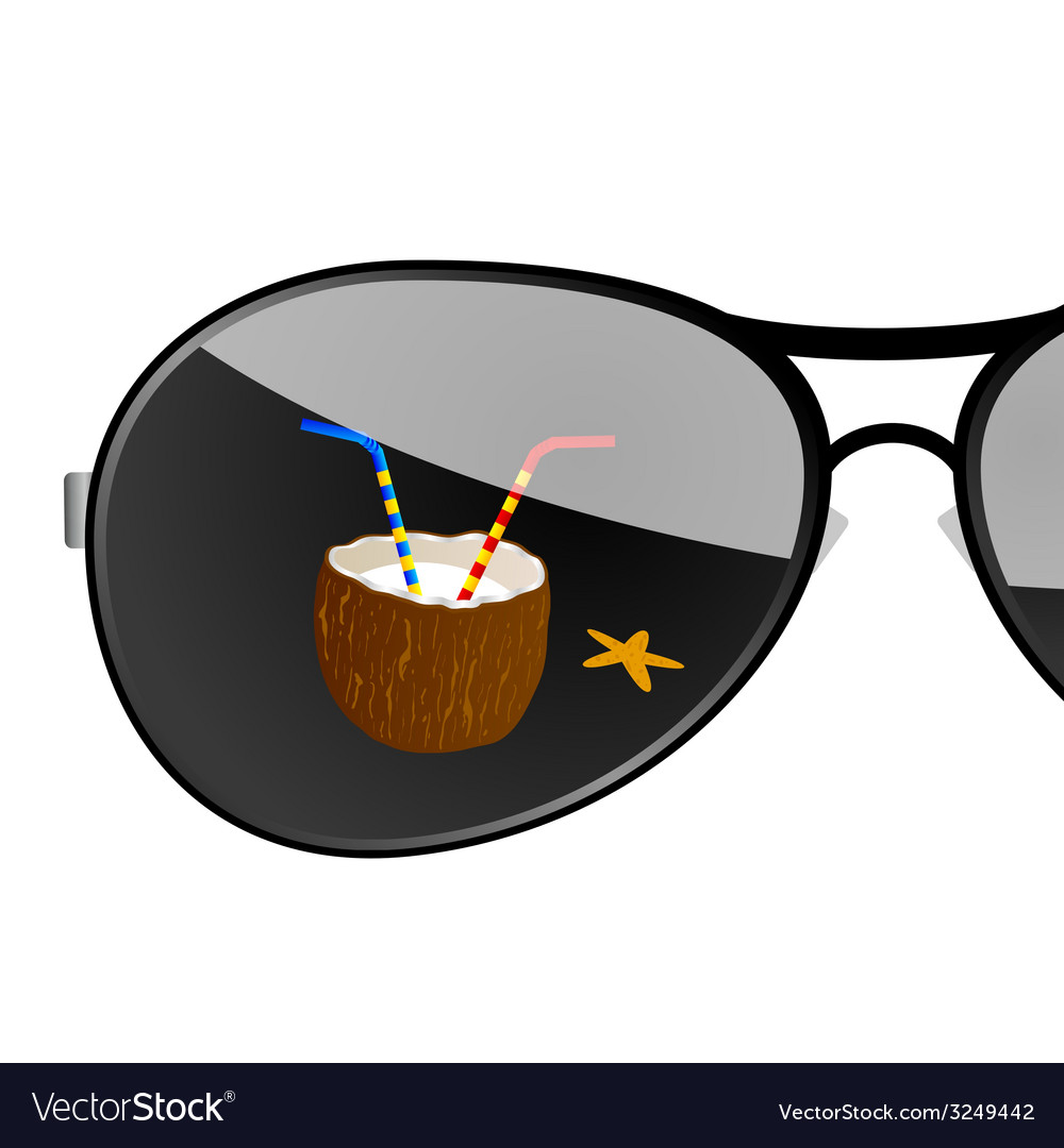 Sunglass with coconut art vector | Price: 1 Credit (USD $1)