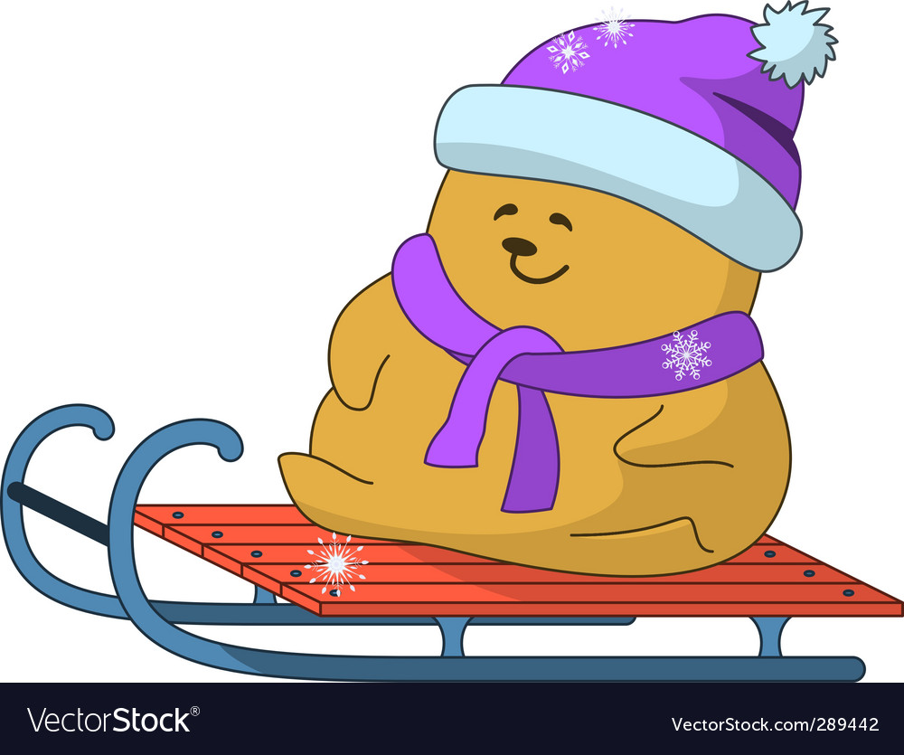 Teddy bear on sledge vector | Price: 1 Credit (USD $1)