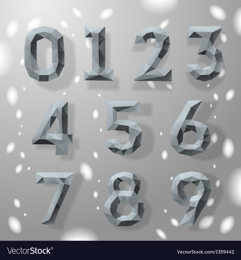 Trendy grey fractal geometric numbers vector | Price: 1 Credit (USD $1)