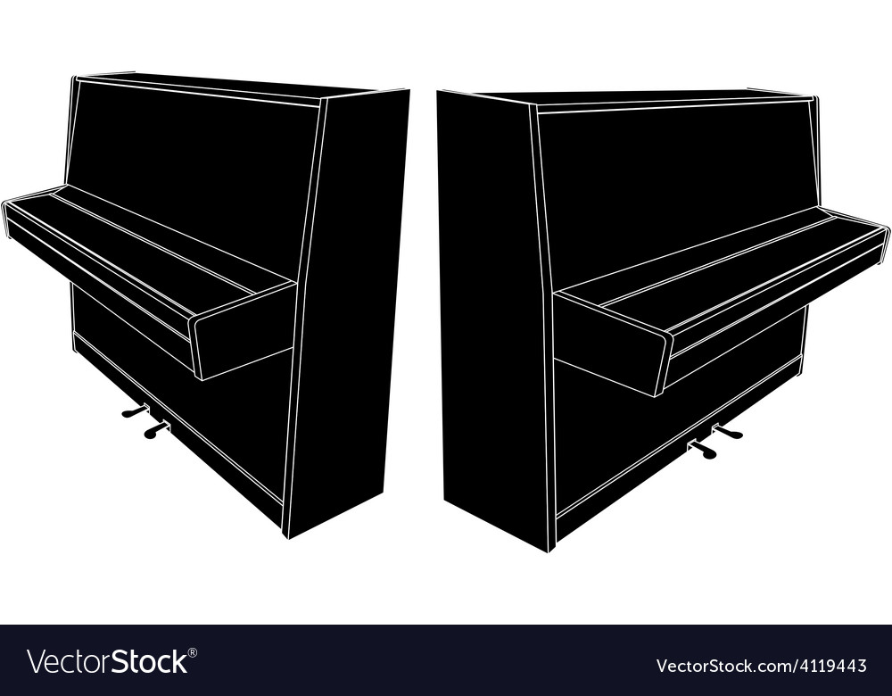Closed piano silhouette with pedals vector | Price: 1 Credit (USD $1)