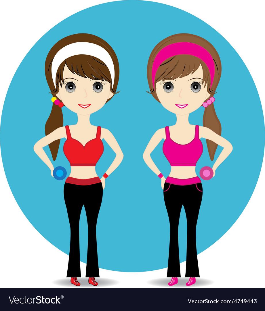 Cute woman exercising vector   Price: 1 Credit (USD $1)