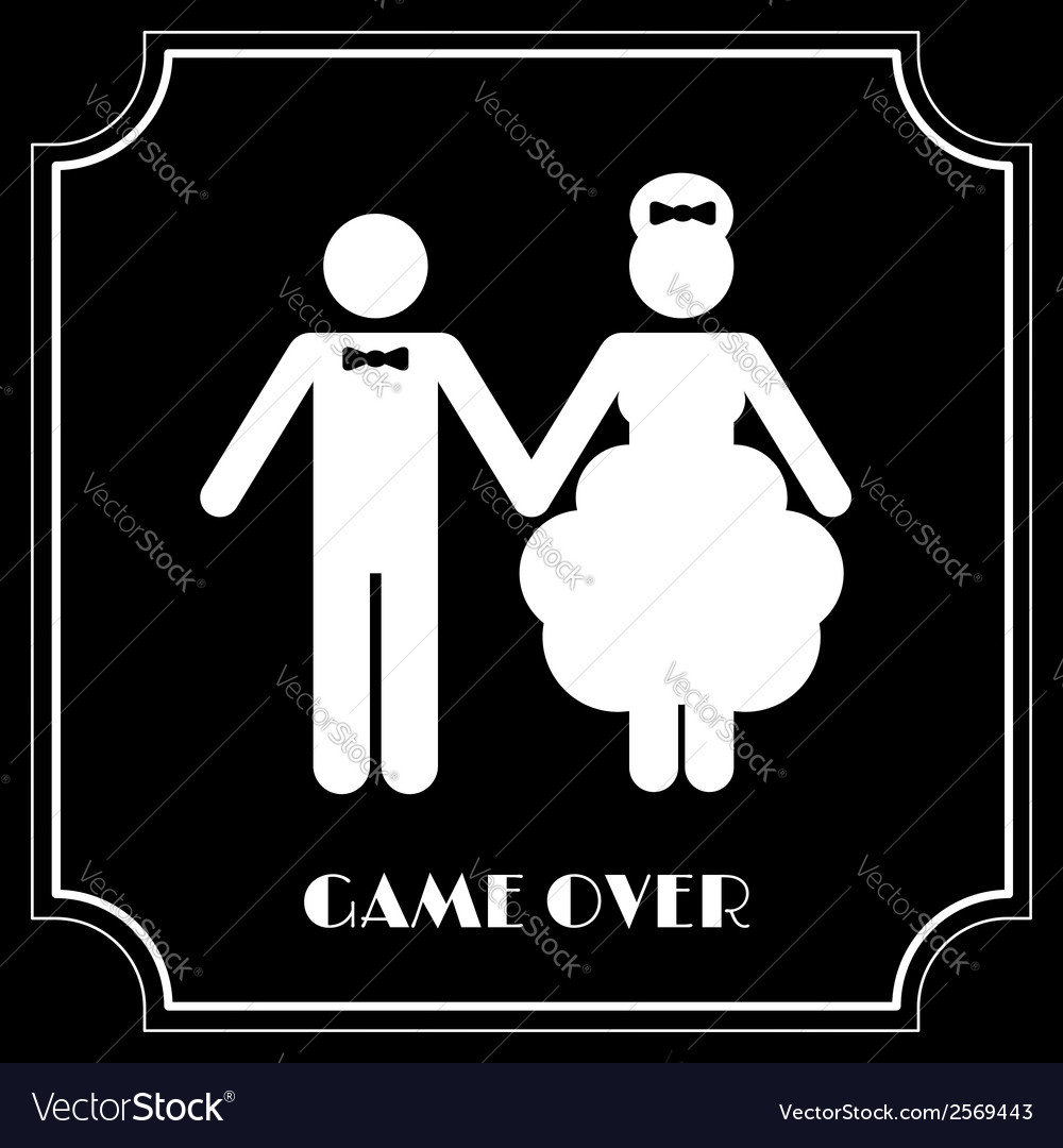 Funny wedding symbol - game over vector | Price: 1 Credit (USD $1)