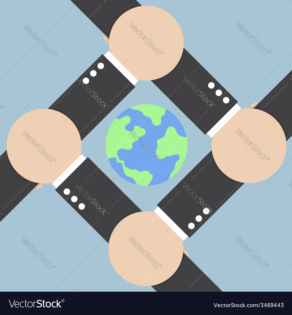 Hands connecting around the world vector | Price: 1 Credit (USD $1)