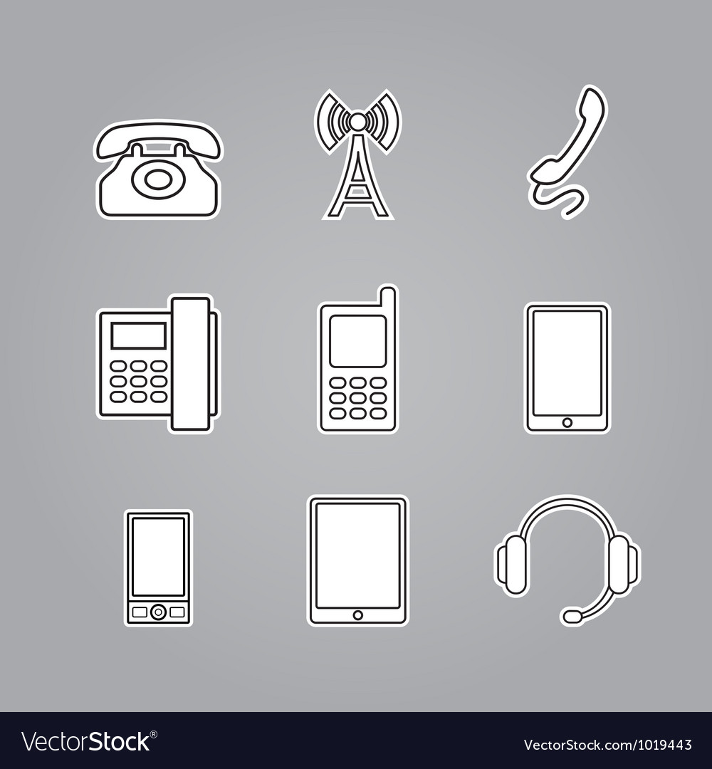 Icons phones and telecommunication devices vector | Price: 1 Credit (USD $1)