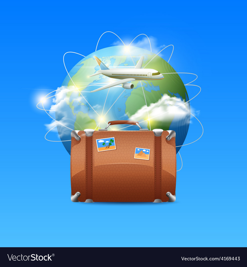 Plane with globe and suitcase vector   Price: 5 Credit (USD $5)
