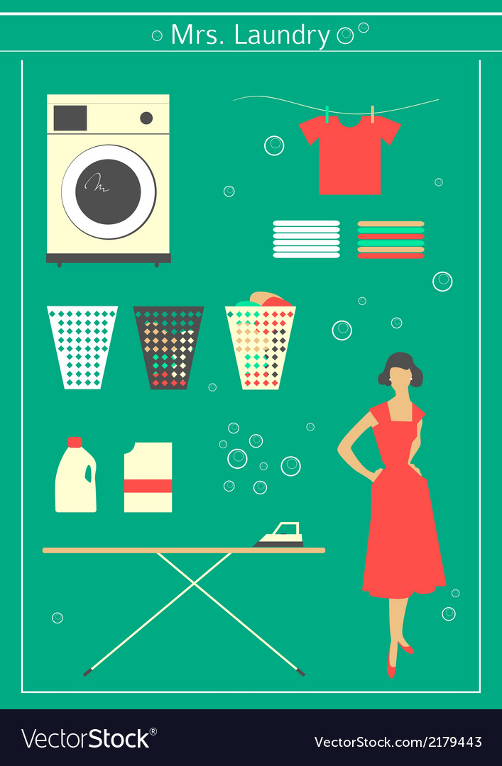 Retro laundry set vector | Price: 1 Credit (USD $1)
