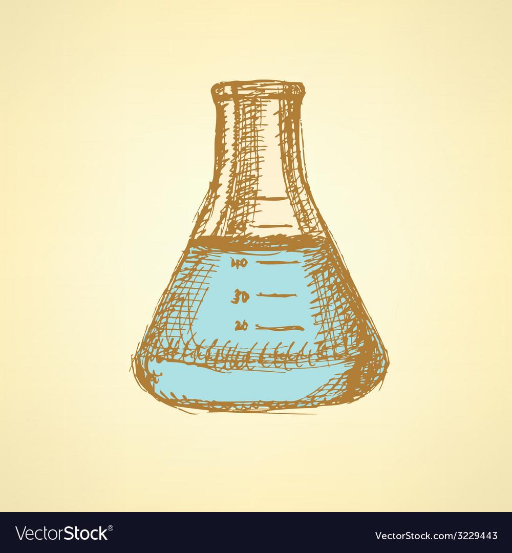 Sketch beaker in vintage style vector | Price: 1 Credit (USD $1)