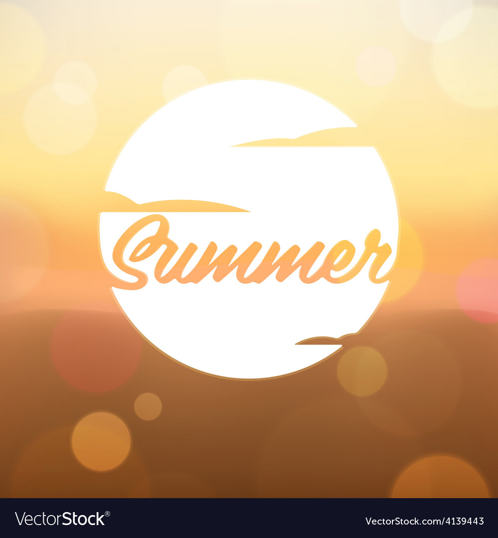 Summer label on blurred background vector | Price: 1 Credit (USD $1)