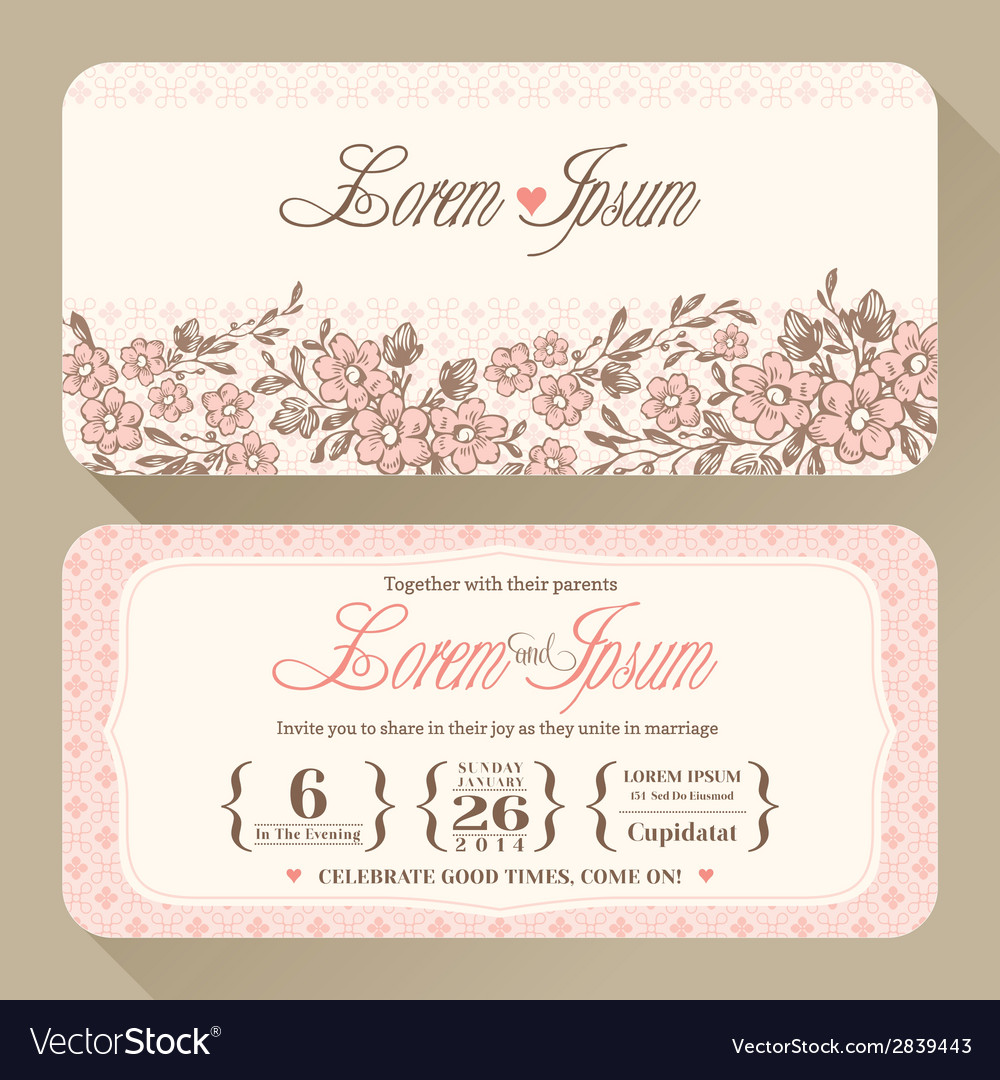 Vintage floral wedding invitation card design temp vector | Price: 1 Credit (USD $1)