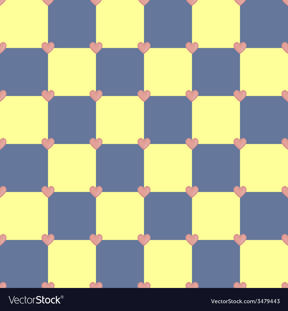 Yellow and blue colors pattern with pink hearts vector | Price: 1 Credit (USD $1)