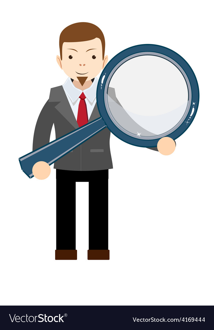 Businessman with a magnifying glass in his hands vector | Price: 1 Credit (USD $1)