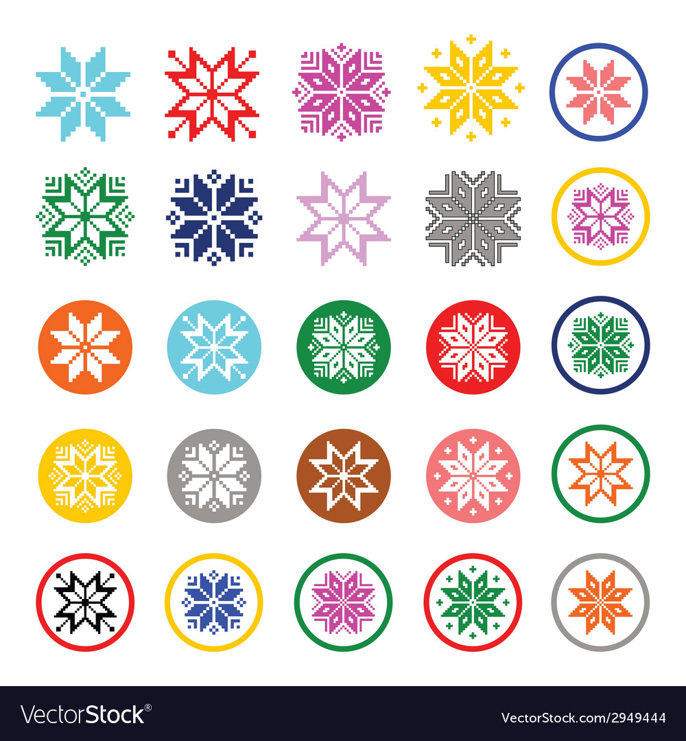 Colorful pixelated snowflakes christmas icons vector | Price: 1 Credit (USD $1)