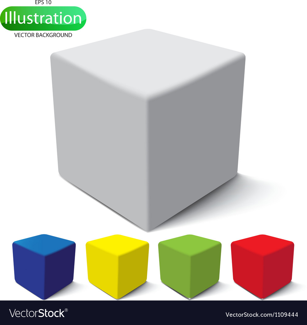 Cube on a white background vector | Price: 1 Credit (USD $1)