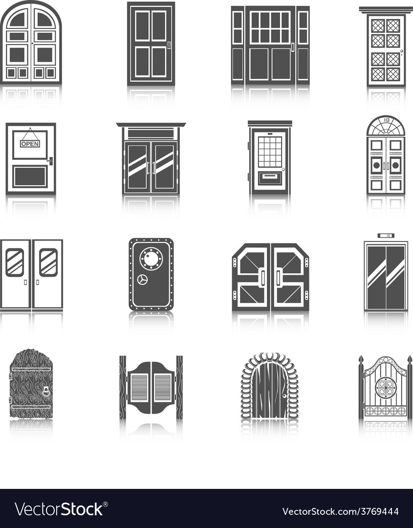 Door icons set vector | Price: 1 Credit (USD $1)