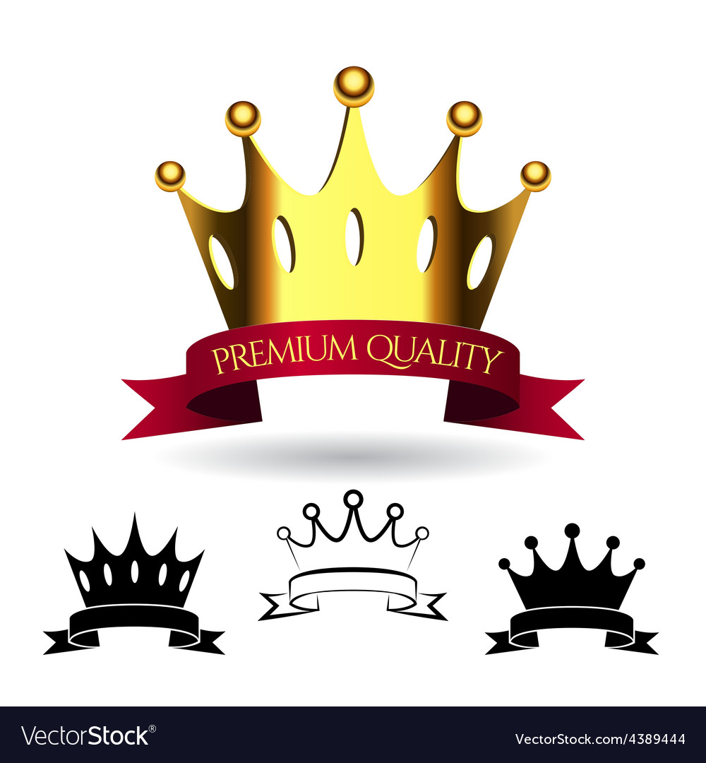 Golden crown with a red ribbon isolated on white vector | Price: 3 Credit (USD $3)