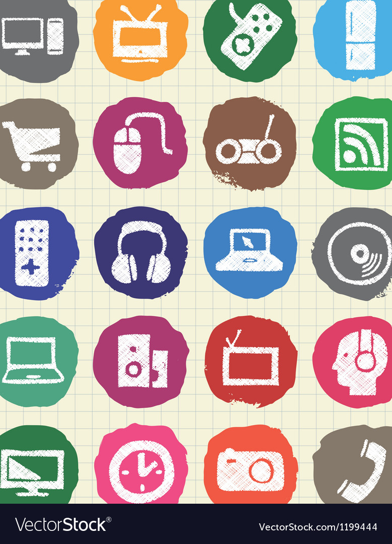 Household appliances and electronics web icons set vector | Price: 1 Credit (USD $1)