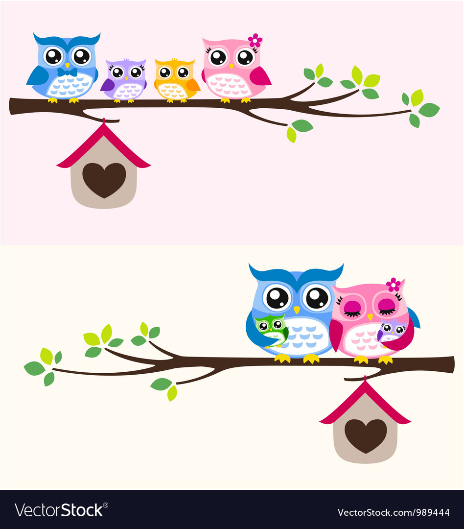 Owl family vector | Price: 1 Credit (USD $1)