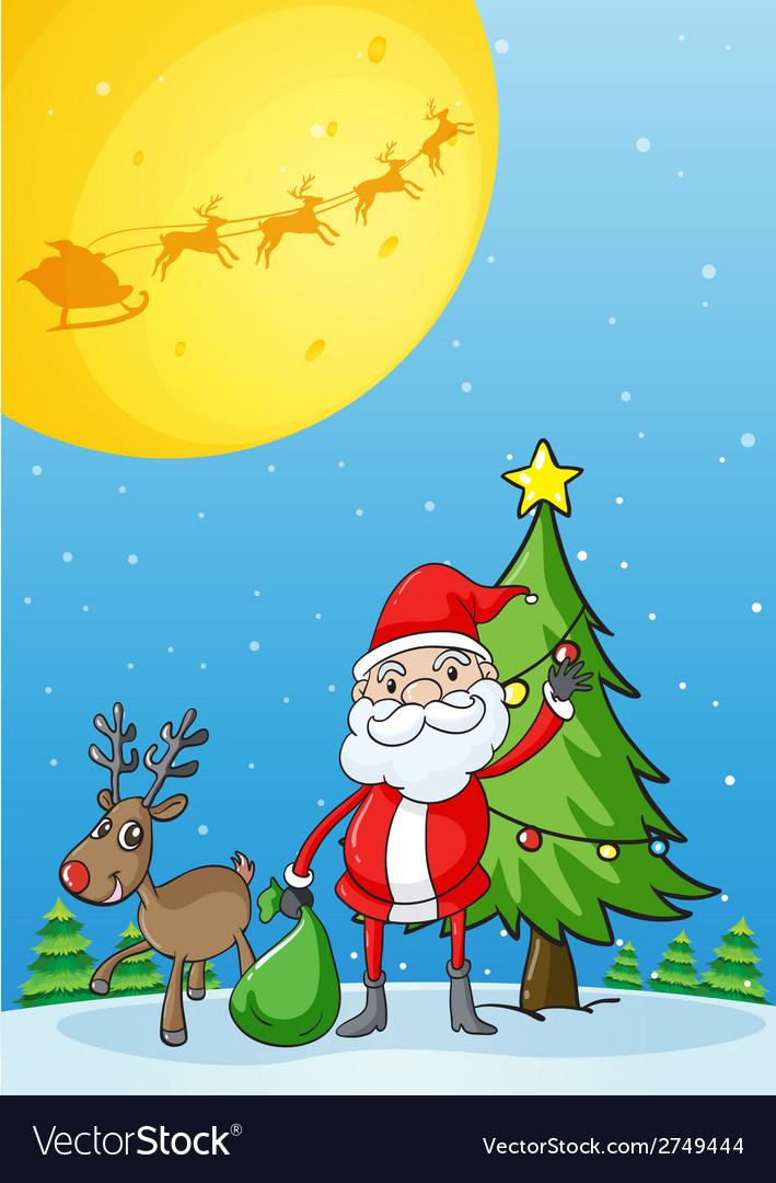 Santa with his reindeer vector | Price: 1 Credit (USD $1)