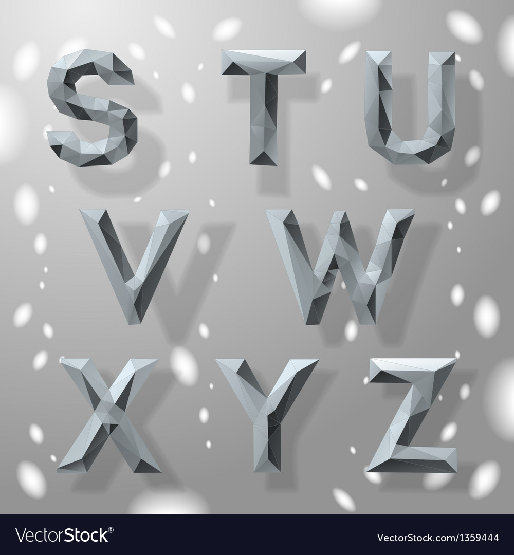 Trendy grey fractal geometric alphabet part 3 vector | Price: 1 Credit (USD $1)