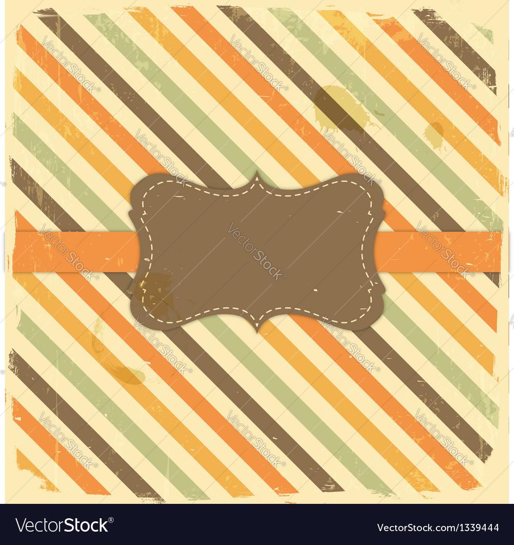 Vintage label on grunge stripe background vector | Price: 1 Credit (USD $1)