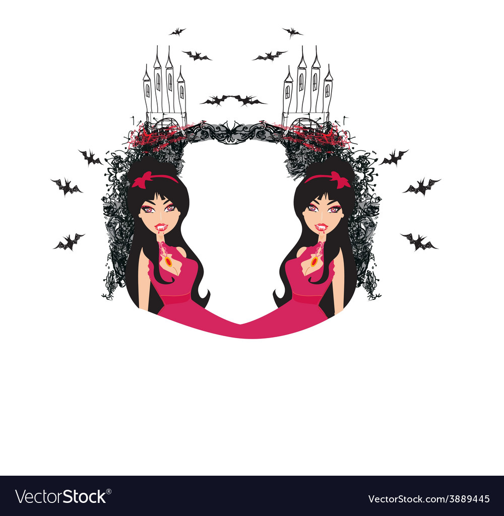 Abstract frame of a beautiful female vampire vector | Price: 1 Credit (USD $1)
