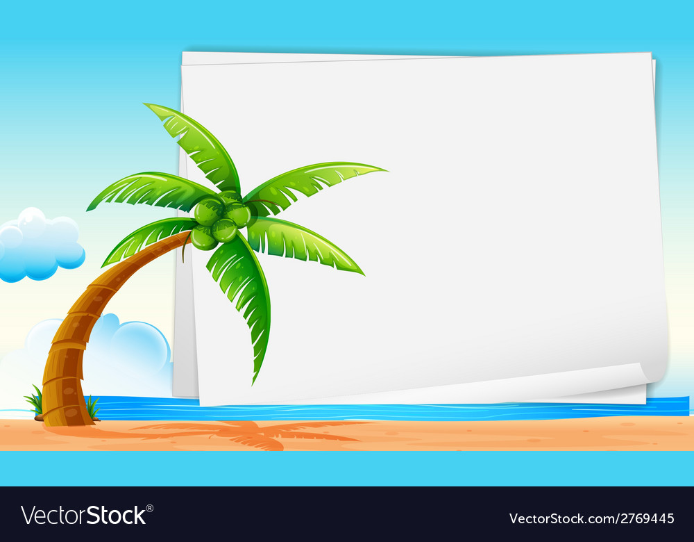 Banner with beach vector | Price: 1 Credit (USD $1)