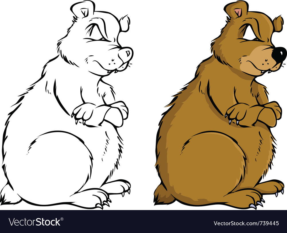 Bear coloring book vector | Price: 3 Credit (USD $3)