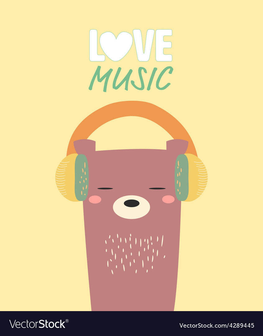 Bear love music vector | Price: 1 Credit (USD $1)