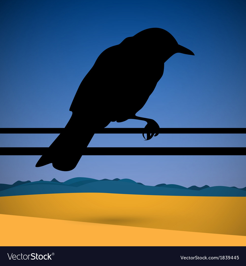 Bird silhouette with abstract desert scene on vector | Price: 1 Credit (USD $1)