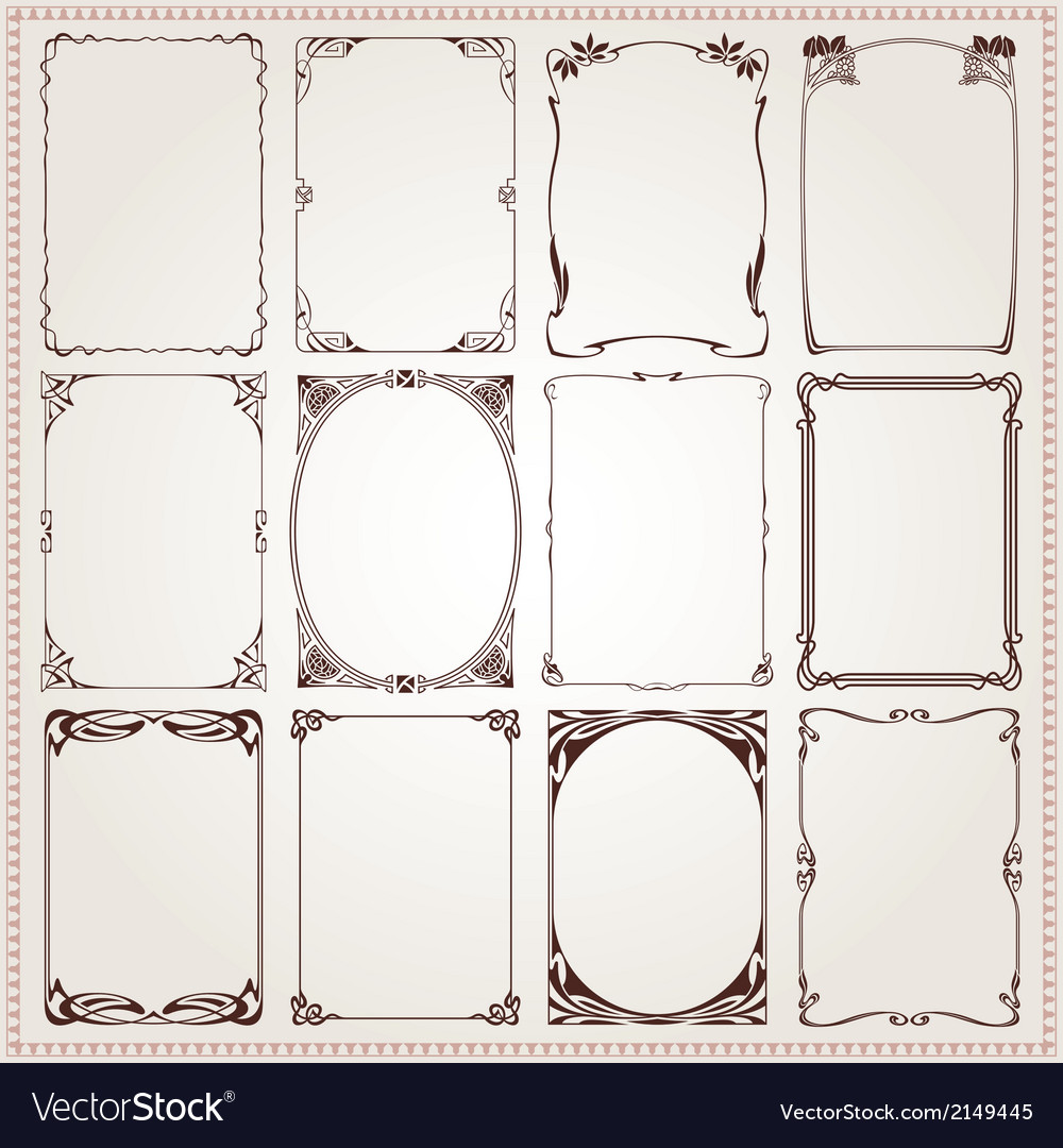 Borders frames art nouveau style vector | Price: 1 Credit (USD $1)