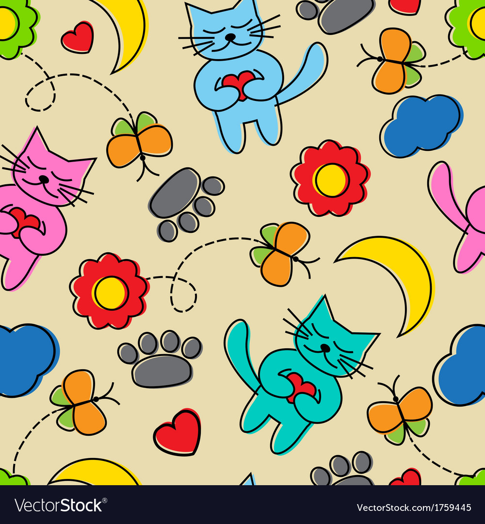 Cartoon seamless pattern with cats vector | Price: 1 Credit (USD $1)