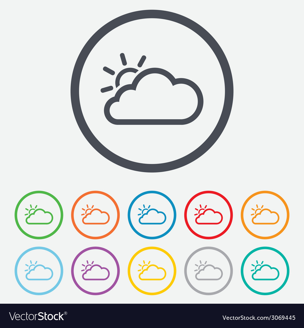 Cloud and sun sign icon weather symbol vector | Price: 1 Credit (USD $1)