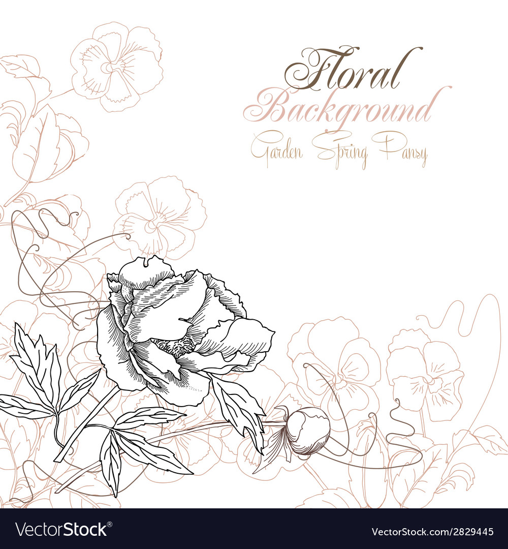 Floral background with one peony vector   Price: 1 Credit (USD $1)