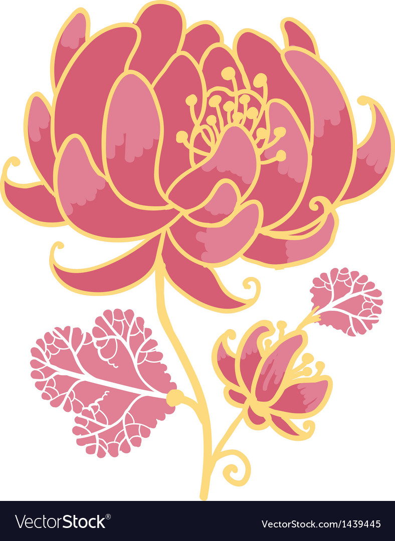 Golden and pink flower design element vector | Price: 1 Credit (USD $1)