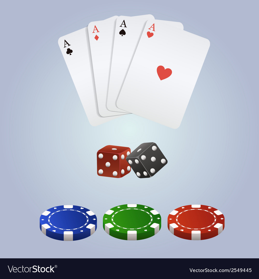 Poker set with playing cards dices and chips vector | Price: 1 Credit (USD $1)