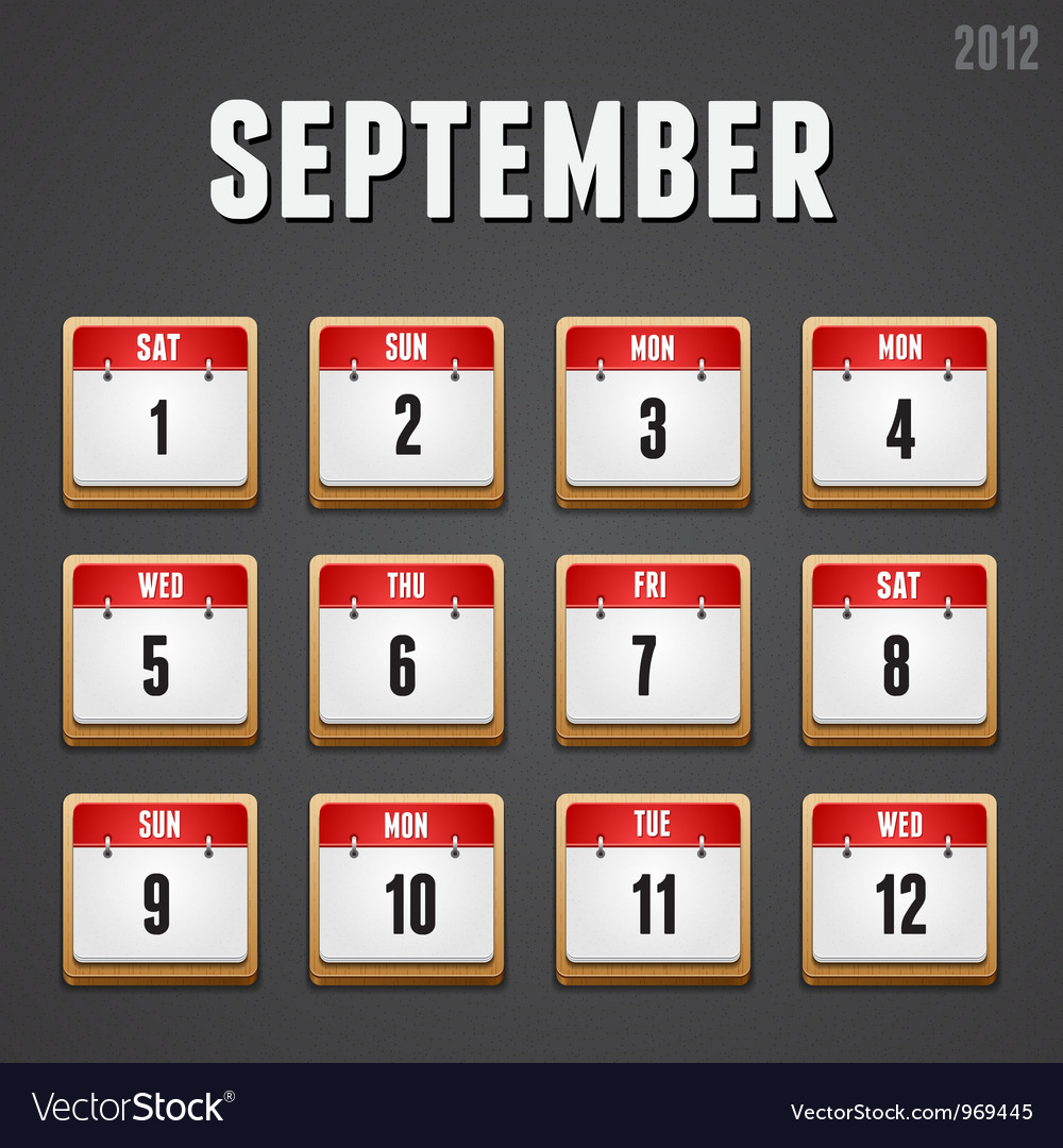 September 2012 calendar icons vector | Price: 1 Credit (USD $1)