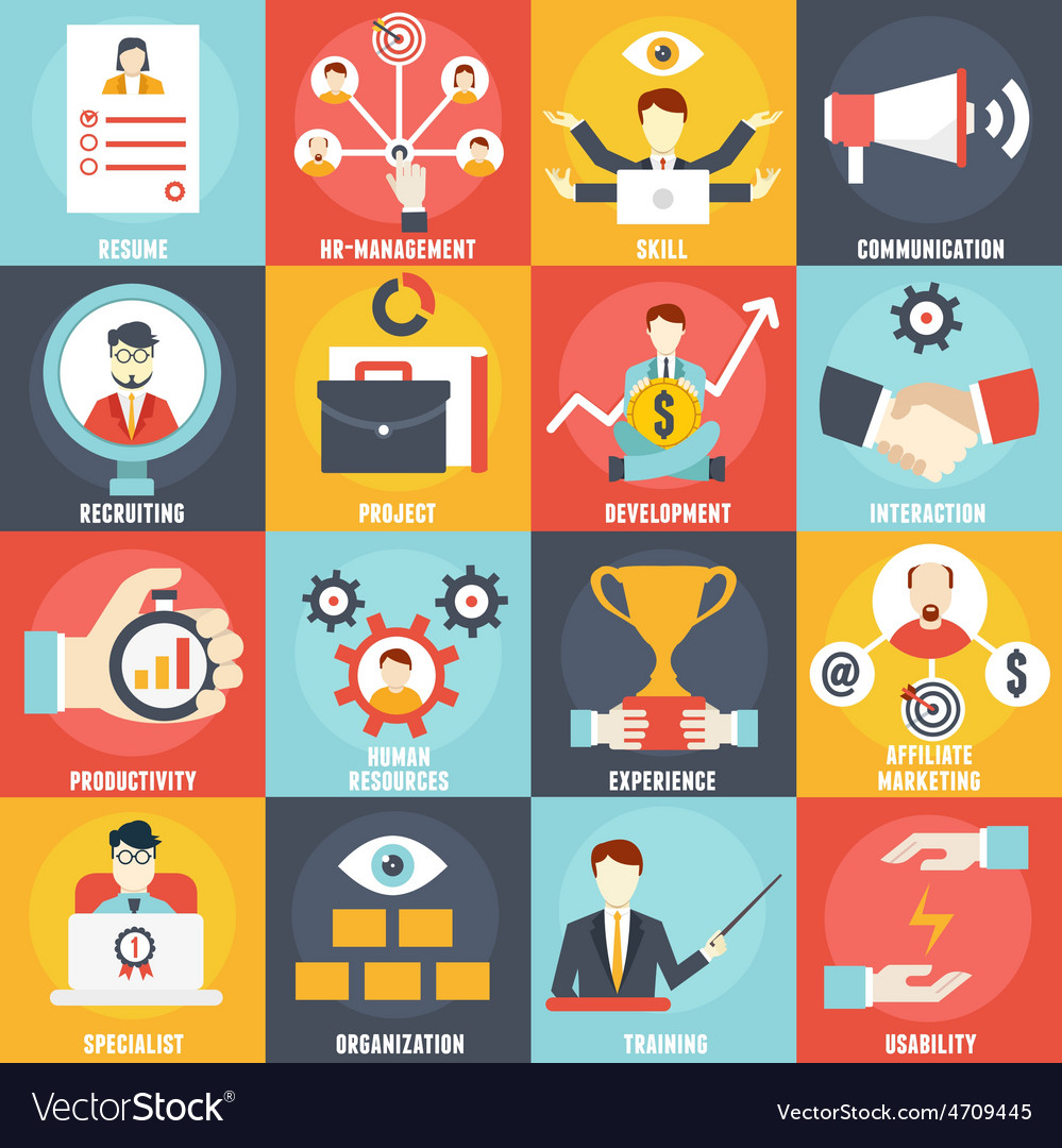 Set of human resources management icons vector | Price: 1 Credit (USD $1)